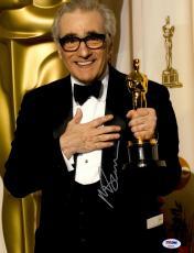 "Martin Scorsese Autographed 11"" x 14"" Holding Oscar Award Photograph - PSA/DNA COA"
