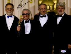 "Martin Scorsese Autographed 11"" x 14"" Holding Oscar Award With Steven Speilberg And George Lucas Photograph - PSA/DNA COA"