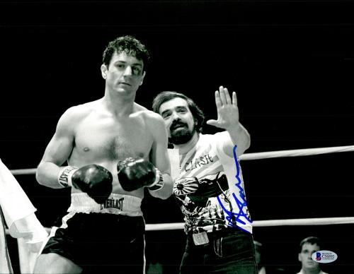 "Martin Scorsese Autographed 11"" x 14"" Raging Bull Standing Next To Robert De Niro Wearing Clash Shirt Photograph - BAS COA"