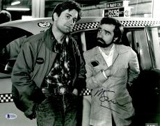 "Martin Scorsese Autographed 11"" x 14"" Taxi Driver With Robert De Niro Standing In Front of Cab  Photograph - BAS COA"