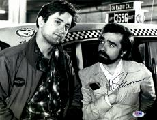 """Martin Scorsese Autographed 11"""" x 14"""" Taxi Driver With Robert De Niro Standing In Front of Cab  Photograph - PSA/DNA COA"""