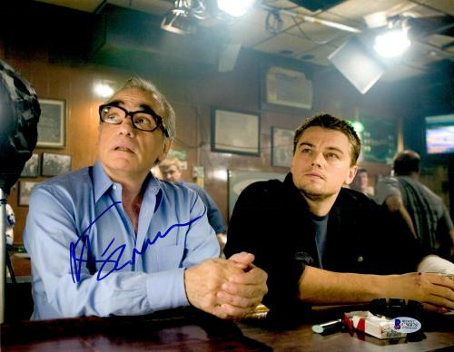"Martin Scorsese Autographed 11"" x 14"" The Departed Sitting With Leonardo DiCaprio Photograph - BAS COA"
