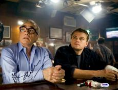 "Martin Scorsese Autographed 11"" x 14"" The Departed Sitting With Leonardo DiCaprio Photograph - PSA/DNA COA"