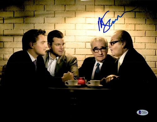 "Martin Scorsese Autographed 11"" x 14"" The Departed Sitting With Matt Damon, Jack Nicholson, And Leonardo DiCaprio Photograph- BAS COA"