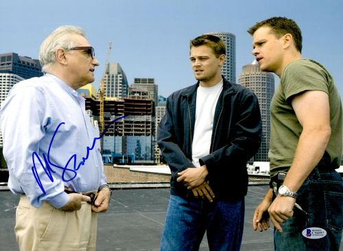 "Martin Scorsese Autographed 11"" x 14"" The Departed With Matt Damon And Leonardo DiCaprio Photograph- BAS COA"