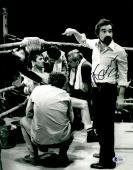"Martin Scorsese Autographed 11"" x 14""Raging Bull Poiting At Robert De Niro Sitting Down Photograph - BAS COA"
