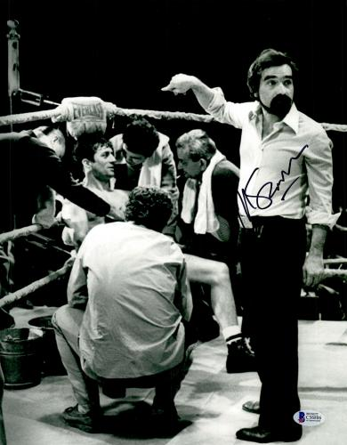 "Martin Scorsese Autographed 11"" x 14""Raging Bull Poiting At Robert De Niro Sitting Down Photograph - BAS COA"