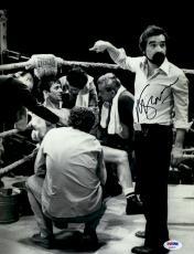 "Martin Scorsese Autographed 11"" x 14""Raging Bull Poiting At Robert De Niro Sitting Down Photograph - PSA/DNA COA"