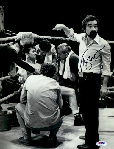 "Martin Scorsese Autographed 11"" x 14""Raging Bull Poiting At Robert De Niro Sitting Down Photograph - PSA/DNA COA"