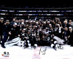 Alec Martinez Los Angeles Kings 2014 Stanley Cup Champions Autographed 16'' x 20'' Stanley Cup Team Celebration Photograph - Mounted Memories
