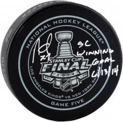 Alec Martinez Los Angeles Kings 2014 Stanley Cup Champions Autographed Game 5 Official Puck with OT Winner Inscription