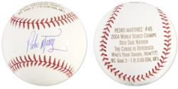 Pedro Martinez Autographed Baseball Engraved 2004 WS Stats