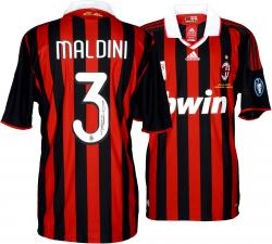 Paolo Maldini Signed Jersey - Madini Red & Black Mounted Memories