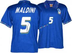 Paolo Maldini Autographed Jersey - Italy Blue Back Mounted Memories