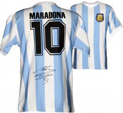 Diego Maradona Autographed Jersey - 1986 Blue Back Mounted Memories