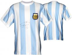 Diego Maradona Signed Jersey - Blue Front Mounted Memories