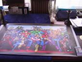 MARVEL COMICS STAN LEE signed 24x40 CHARACTER COLLAGE GICLEE CANVAS JSA