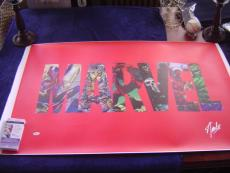 MARVEL COMICS STAN LEE signed 24x40 CHARACTER LOGO COLLAGE GICLEE CANVAS JSA