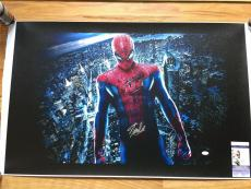 MARVEL COMICS STAN LEE signed 24x40 SPIDERMAN NEW YORK CITY GICLEE CANVAS JSA