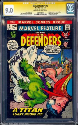 Marvel Feature #3 Cgc 9.0 Ss Stan Lee 3rd App Of The Defenders Cgc #1283488016
