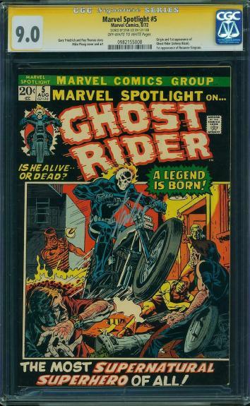 Marvel Spotlight #5 Cgc 9.0 Oww Ss Stan Lee Origin & 1st Ghost Rider #0982155008