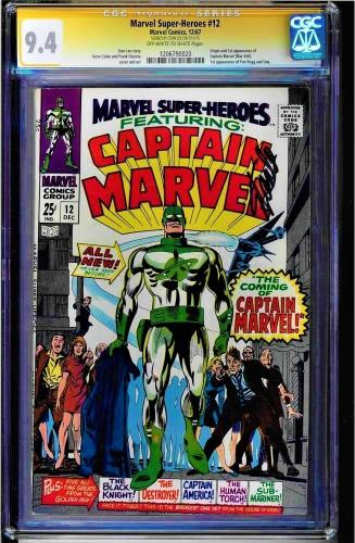 Marvel Super-heroes #12 Cgc 9.4 Ss Stan Lee Org & 1st Capt. Marvel #1206790020