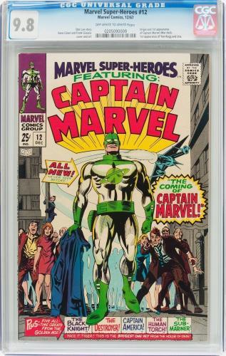 Marvel Super-heroes #12 Cgc 9.8 Oww Origin & 1st App Capt. Marvel #0205090009