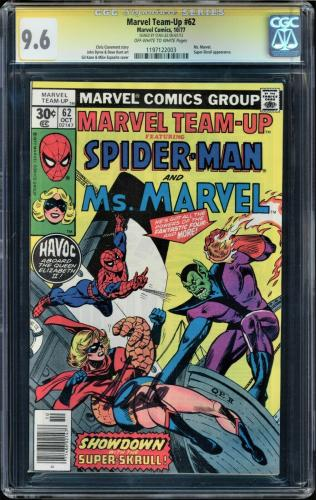Marvel Team-up #62 Cgc 9.6 Oww Ss Stan Lee Signed Ms Marvel Gcg #1197122003