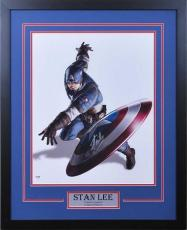 Marvel's Avengers - Captain America 16 x 20 Throwing Shield Signed by Stan Lee - Professionally Framed