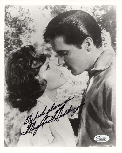 MARY ANN MOBLEY HAND SIGNED 8x10 PHOTO    FACE TO FACE WITH ELVIS PRESLEY    JSA