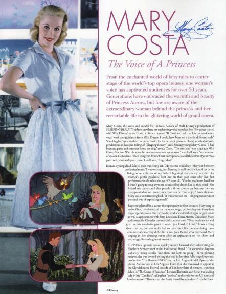 MARY COSTA HAND SIGNED 8x11 COLOR PHOTO+COA     VOICE OF DISNEY SLEEPING BEAUTY