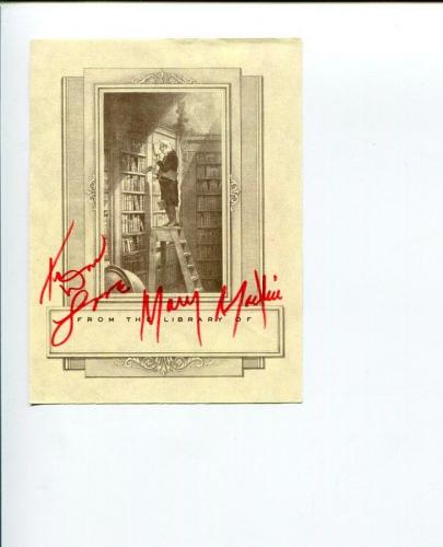 Mary Martin Peter Pan Star Broadway Tony Award Winner Signed Autograph Bookplate