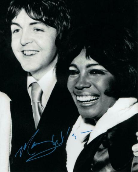 Mary Wilson Signed Autograph 8x10 Photo - The Supremes Singer W/ Paul Mccartney