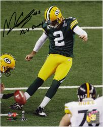 Mason Crosby Green Bay Packers Super Bowl XLV Autographed 8'' x 10'' Photograph with XLV Champs Inscription - Mounted Memories