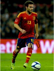 "Juan Mata Spain Autographed 16"" x 12"" Red Jersey Photograph"