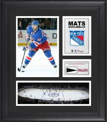 """Mats Zuccarello New York Rangers Framed 15"""" x 17"""" Collage with Piece of Game-Used Puck"""
