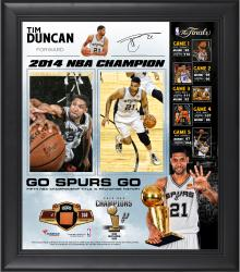 "Tim Duncan San Antonio Spurs 2014 NBA Finals Champions Framed 15"" x 17"" Collage with 2014 NBA Finals Game-Used Basketball-Limited Edition of 250"
