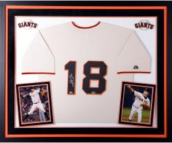 Matt Cain San Francisco Giants Autographed Deluxe Framed Majestic Replica Beige Jersey
