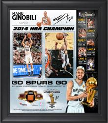 "Manu Ginobili San Antonio Spurs 2014 NBA Finals Champions Framed 15"" x 17"" Collage with 2014 Finals Game-Used Basketball-Limited Edition of 250"