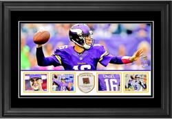 "Matt Cassel Minnesota Vikings Framed 10"" x 18""  Panoramic with Piece of Game-Used Football - Limited Edition of 250"