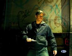 """Matt Damon Autographed 11"""" x 14"""" The Departed - Holding Knife Photograph - Beckett COA"""