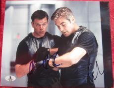 Matt Damon George Clooney 2x signed 8x10 photo Oceans Eleven Beckett BAS