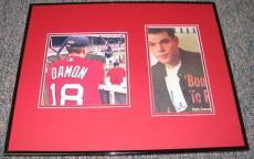 Matt Damon Red Sox Signed Framed 16x20 Photo Display JSA