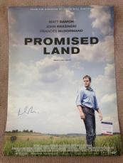 Matt Damon Signed 27x40 Original Movie Poster Promised Land Psa Dna Coa