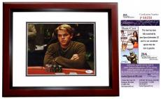 Matt Damon Signed - Autographed Rounders 8x10 Photo MAHOGANY CUSTOM FRAME - JSA Certificate of Authenticity