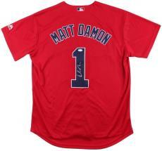 Matt Damon Signed Boston Red Sox Majestic Cool Base Replica Jersey JSA U15577