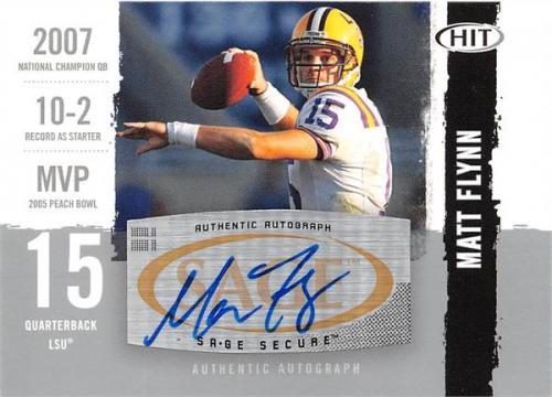 Matt Flynn autographed Football Card (LSU Tigers) 2008 SAGE HIT Rookie #A85