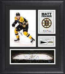 """Matt Fraser Boston Bruins Framed 15"""" x 17"""" Collage with Piece of Game-Used Puck"""