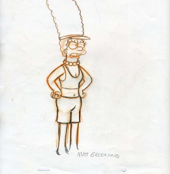 Matt Groenig Hand Drawn Production Cel Signed Psa Dna Marge Simpson Autograph