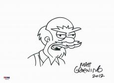 "Matt Groening 8""x11.5"" Signed ""groundskeeker Willie"" Sketch Psa Coa W46872"